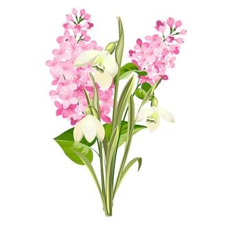Syringa와 흰색 galanthus의 보라색 라일락 꽃. 봄 부케 식물 그림입니다.