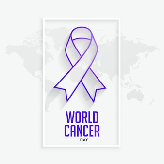 Purple line ribbconcept for world cancer day