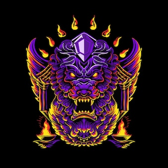 装飾品と紫色のライオンの頭のイラスト