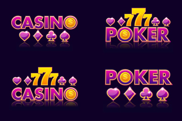 Фиолетовый логотип идеи текста казино и покер.