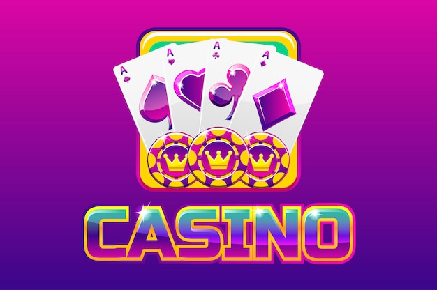 Purple logo text casino and icon, for ui game