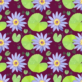 Purple lotus with water drop on green lotus leaf seamless pattern.