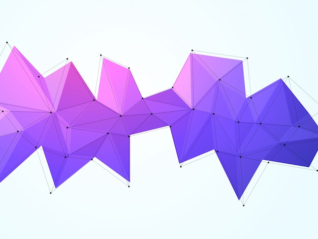 Purple low poly or polygonal shape with black outline, creative abstract geometric design element.