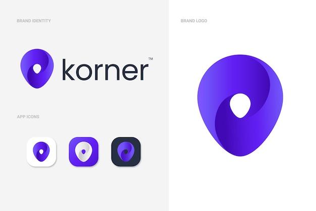 Концепция логотипа указателя местоположения фиолетовой карты с значками приложений