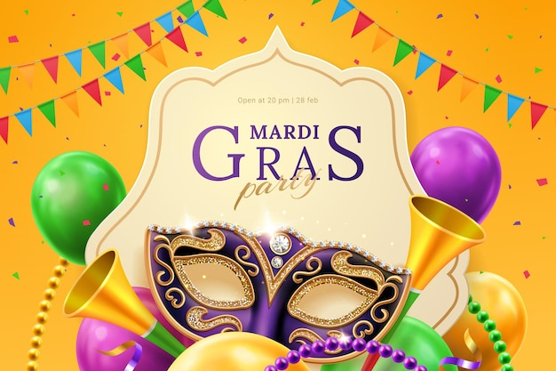 Фиолетовая маска с бриллиантами для карнавала на флаере-приглашении марди гра