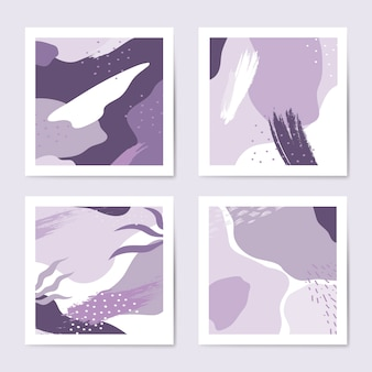 Purple memphis style pattern vector set