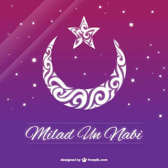 Purple milad un nabi background with an ornamental moon