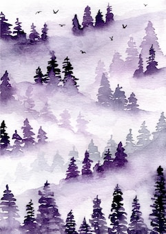 Purple misty forest with pine trees watercolor background