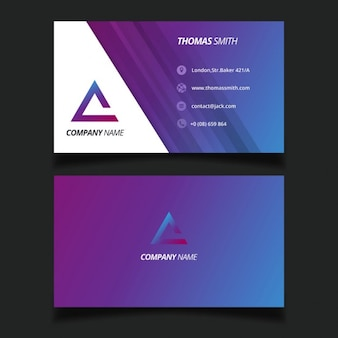 Purple modern business card with a triangular logo