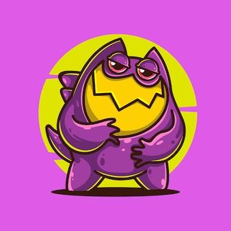 보라색 괴물 만화 벡터 아이콘 그림