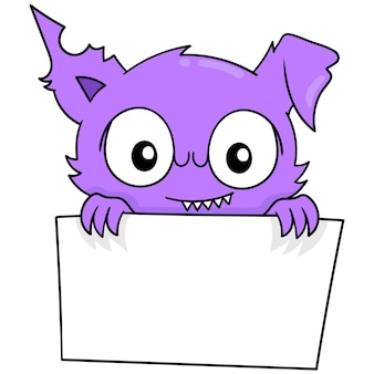 Purple monster holding blank white board template, vector illustration art. doodle icon image kawaii.