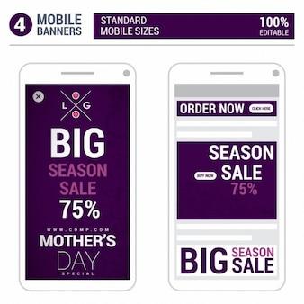 パープル母の日モバイルポップアップ広告 無料ベクター