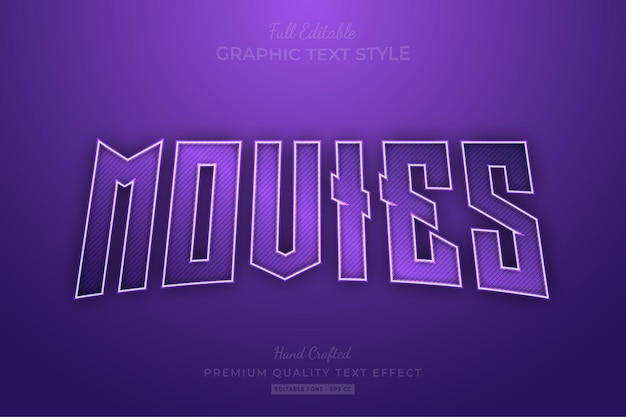 Purple movies editable text effect font style