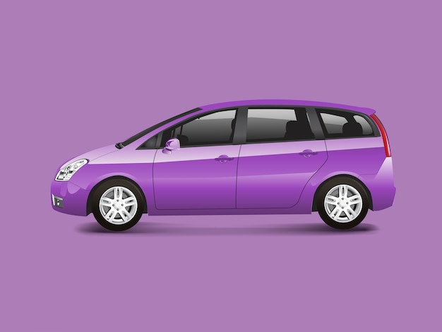 Purple mpv minivan automobile vector