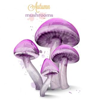 Фиолетовые грибы акварель