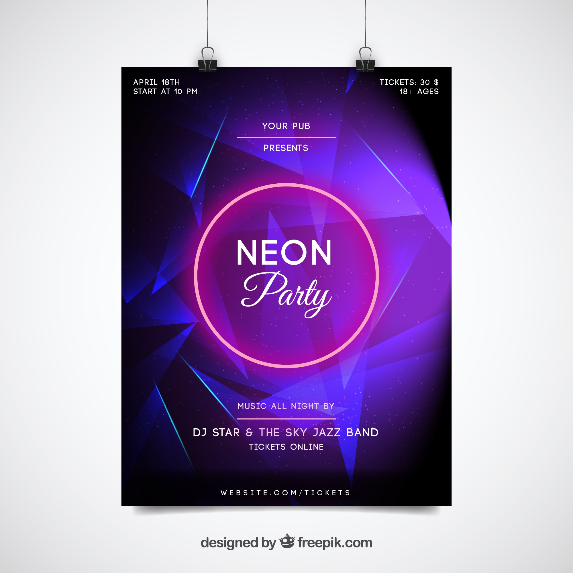 Purple neon party poster template