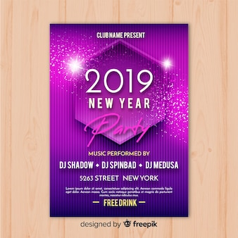 Purple new year 2019 party banner