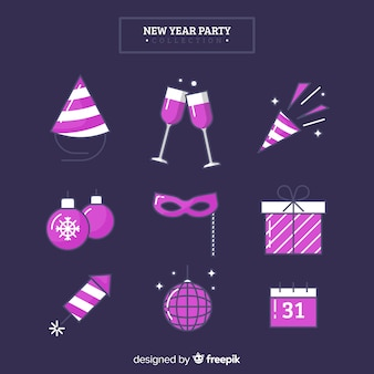 Purple new year 2019 party elements set