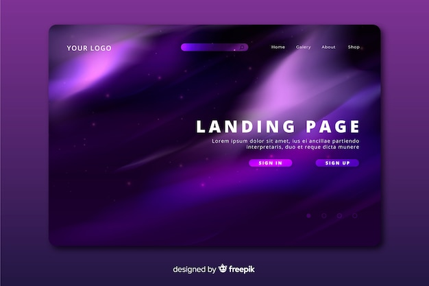 Purple northern lights landing page