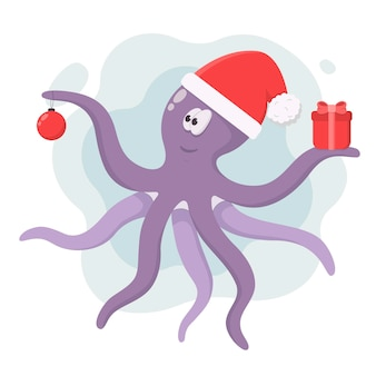 Фиолетовый осьминог в шапке санта-клауса с елочным шаром и подарком в щупальцах