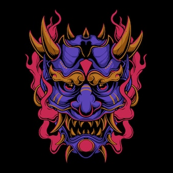 Purple oni mask with red flame illustration