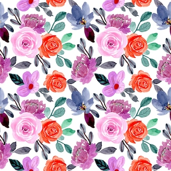 Purple and orange flower watercolor seamless pattern