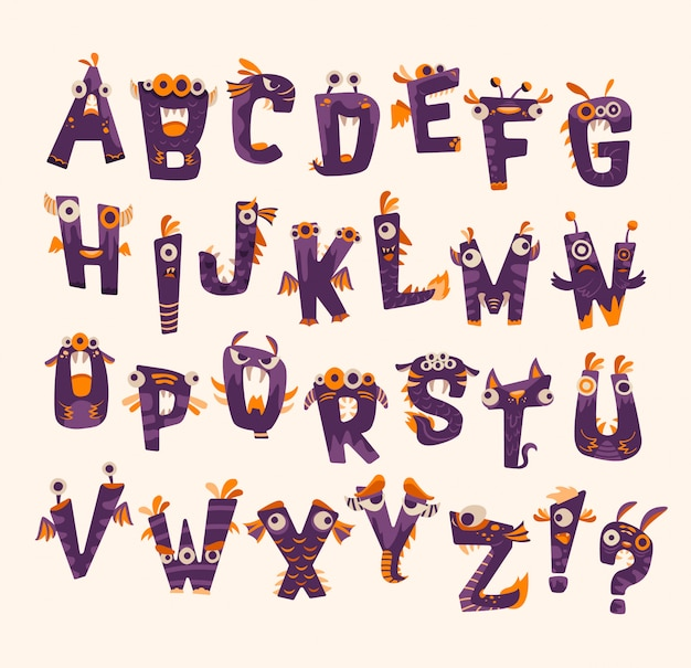 Purple and orange halloween monster  fonts