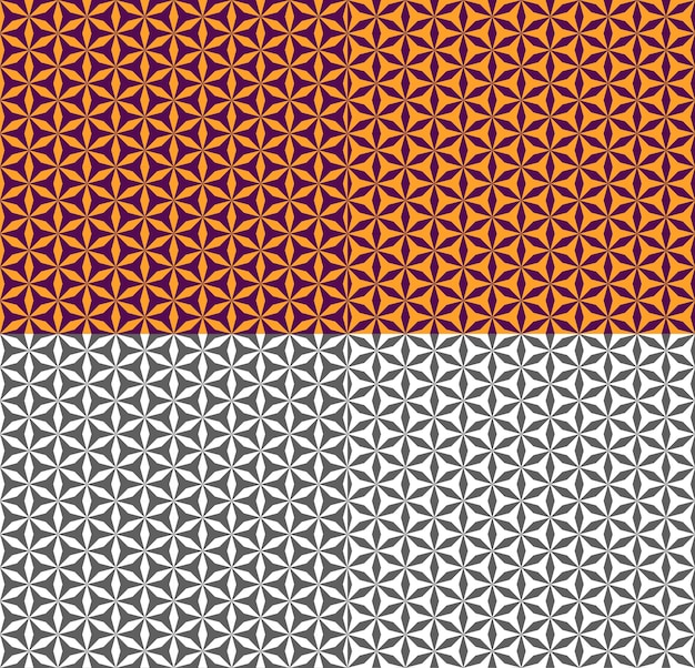 Purple and orange seamless pattern with polygon. geometric ornament in ethnic, arabic, turkish style. vector monochrome texture for backdrop, background, fabric, textile, wallpaper. color inversion.