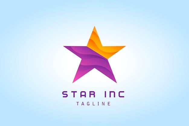 企業の紫オレンジ色の星のグラデーションのロゴ