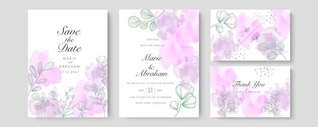 Фиолетовый оранжевый акварельный свадебный шаблон приглашения карты с золотым цветочным декором. абстрактный фон сохранить дату, приглашение, поздравительную открытку, многоцелевой вектор