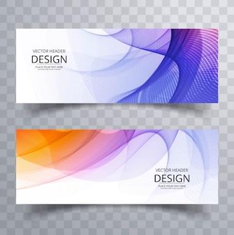 Purple and orange wavy banners Free Vector