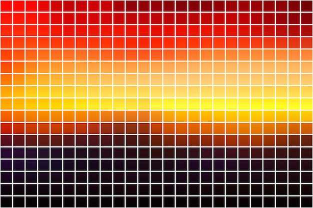 Purple orange yellow red brown square mosaic over white