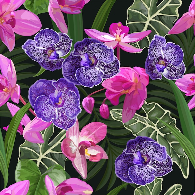 Purple orchid  tropical flower seamless pattern