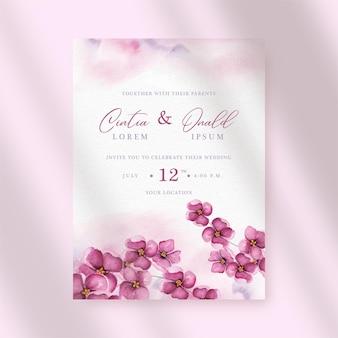 結婚式の招待状に紫色の蘭の水彩画