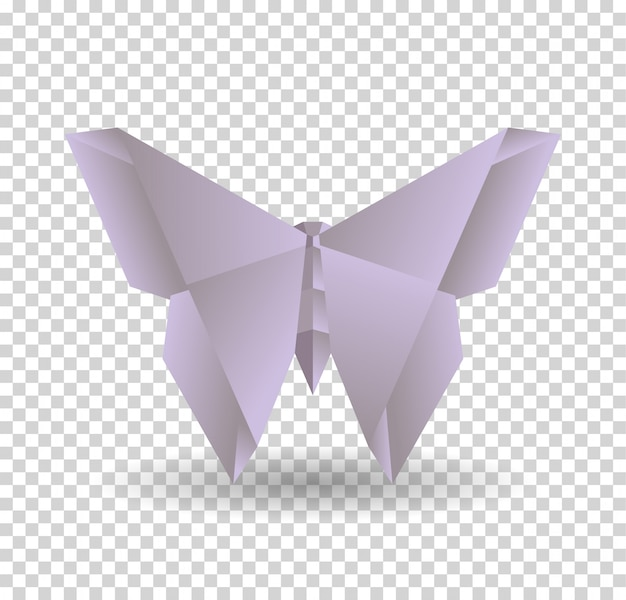 Purple origami butterfly on transparrent