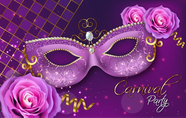 Purple ornamented mask and rose flowers