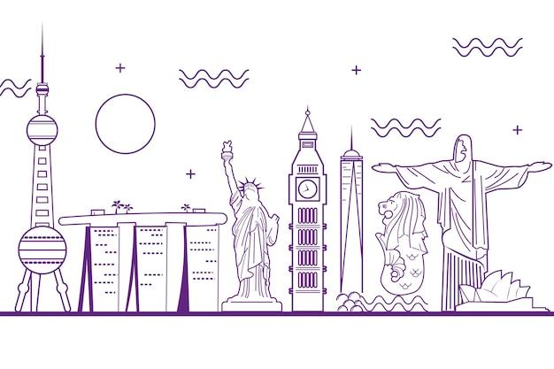 Purple outline landmarks skyline