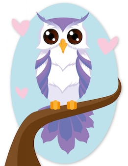 Purple owl cartoon character