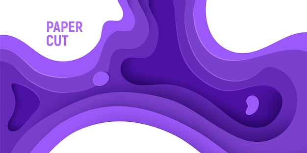 Purple paper cut design with 3d slime abstract background and purple waves layers.