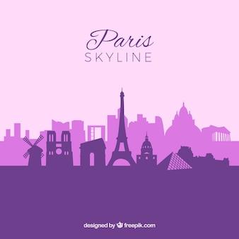 紫色のパリのスカイライン