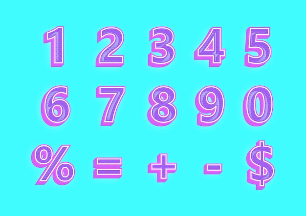 Набор 3d чисел фиолетовый узор