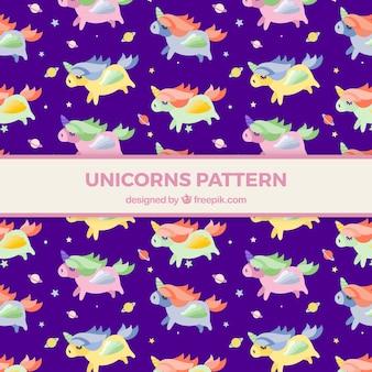 Modello viola di unicorni colorati
