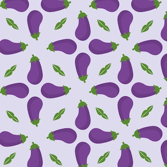 Purple pattern with eggplants and leaves