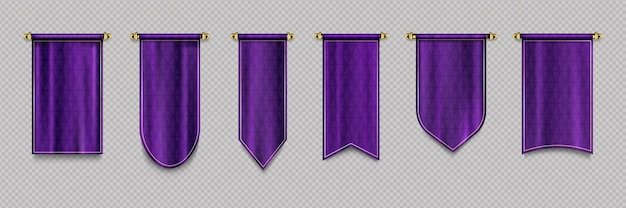 Purple pennant flag set