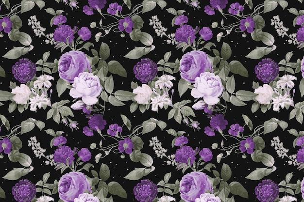 紫牡丹花柄水彩ヴィンテージ
