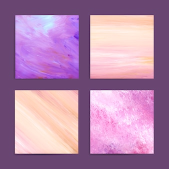 Purple and pink abstract brush stroke textured background vector set