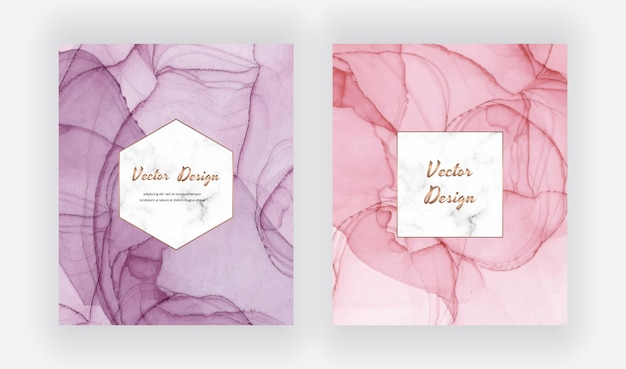 Purple and pink alcohol ink cards with geometric marble frame. modern abstract watercolor design.