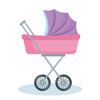 Purple and pink baby stroller