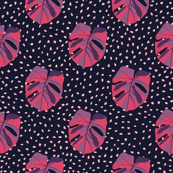 Purple and pink colored monstera seamless pattern. tropic leaves on dark purple dotted background.