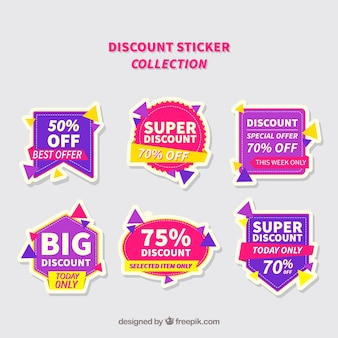 Purple and pink discount sticker collection